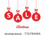 sale word on red christmas... | Shutterstock .eps vector #772799395