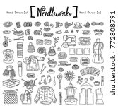 vector set with hand drawn... | Shutterstock .eps vector #772808791