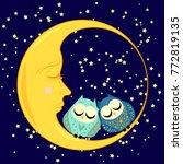 cute cartoon sleeping owl in...   Shutterstock .eps vector #772819135
