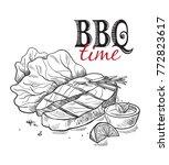 delicious fried meat steak... | Shutterstock .eps vector #772823617