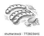 grilling sausages isolated on... | Shutterstock .eps vector #772823641