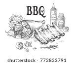 pork ribs and pork knuckle with ... | Shutterstock .eps vector #772823791