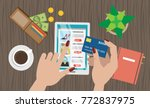 online shopping desktop. woman... | Shutterstock .eps vector #772837975