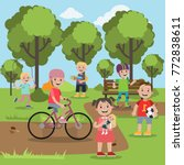 kids playing at the park with... | Shutterstock .eps vector #772838611