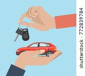 people buy car. hands with red... | Shutterstock .eps vector #772839784