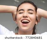 teen girl and silence | Shutterstock . vector #772840681