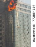 Small photo of fire in a high-rise building.Odessa, Gagarin plato, august 29, 2015
