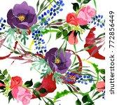 bouquet flower pattern in a... | Shutterstock . vector #772856449