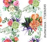 bouquet flower pattern in a... | Shutterstock . vector #772856545