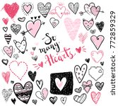 funny doodle hearts icons... | Shutterstock .eps vector #772859329