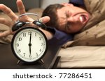 alarm clock with male model in... | Shutterstock . vector #77286451