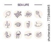 Hand Drawn Doodle Sea Life Set...