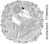 zentangle hand drawn stork for