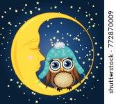 a sweet cartoon brown owl in a... | Shutterstock .eps vector #772870009