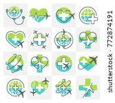 medical tourism icons signs set ... | Shutterstock . vector #772874191