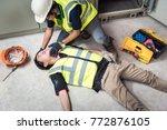 tilt head  life saving and... | Shutterstock . vector #772876105