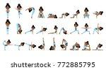 cartoon yogi girl in yoga poses ... | Shutterstock .eps vector #772885795
