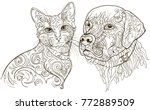 linear silhouettes cat and dog ...   Shutterstock .eps vector #772889509