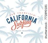 california surfing typography.... | Shutterstock .eps vector #772890181