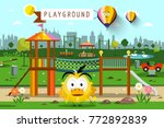 city park with hot air balloons ... | Shutterstock .eps vector #772892839