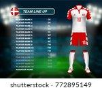 denmark soccer jersey kit with... | Shutterstock .eps vector #772895149