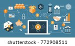bitcoin  cryptocurrency and... | Shutterstock .eps vector #772908511