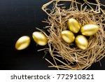 nest full of golden eggs on...   Shutterstock . vector #772910821