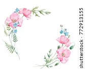 watercolor floral round wreath... | Shutterstock . vector #772913155