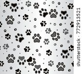 dog paw print and star seamless ...   Shutterstock . vector #772913521