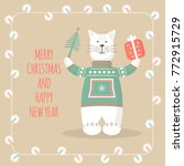christmas greeting cards with... | Shutterstock .eps vector #772915729