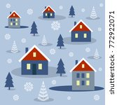 winter landscape with houses ... | Shutterstock .eps vector #772922071