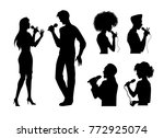 vector man and woman portrait... | Shutterstock .eps vector #772925074