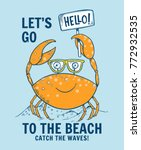cute crab illustration with... | Shutterstock .eps vector #772932535