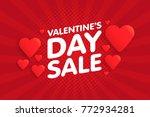 valentine's day sale banner in... | Shutterstock .eps vector #772934281