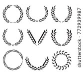 set laurel wreath.  | Shutterstock .eps vector #772939987