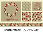 a set of christmas cards and... | Shutterstock .eps vector #772942939