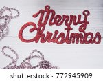 merry christmas red gleaming...   Shutterstock . vector #772945909