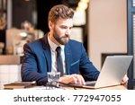portrait of a handsome... | Shutterstock . vector #772947055