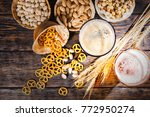 top view of two glasses with... | Shutterstock . vector #772950274