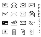 set of 16 email outline icons... | Shutterstock .eps vector #772952221