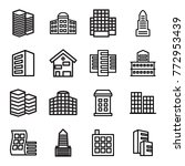 set of 16 headquarters outline... | Shutterstock .eps vector #772953439