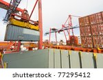 container operation in port... | Shutterstock . vector #77295412