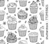 coffee seamless pattern vector  ... | Shutterstock .eps vector #772955821