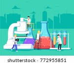 researchers in the laboratory ... | Shutterstock .eps vector #772955851