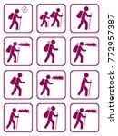 set of hiking icon illustration ... | Shutterstock .eps vector #772957387