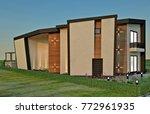 3d design   modern villa  ... | Shutterstock . vector #772961935