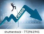 businessman pole vaulting over... | Shutterstock . vector #772961941