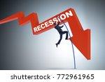 businessman pole vaulting over... | Shutterstock . vector #772961965