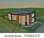 3d design   modern villa  ... | Shutterstock . vector #772962175