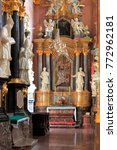 Small photo of Poland, Silesia province, Czestochowa - 2014/10/29: Interior of the Jasna Gora Pauline Order Monastery - aisle